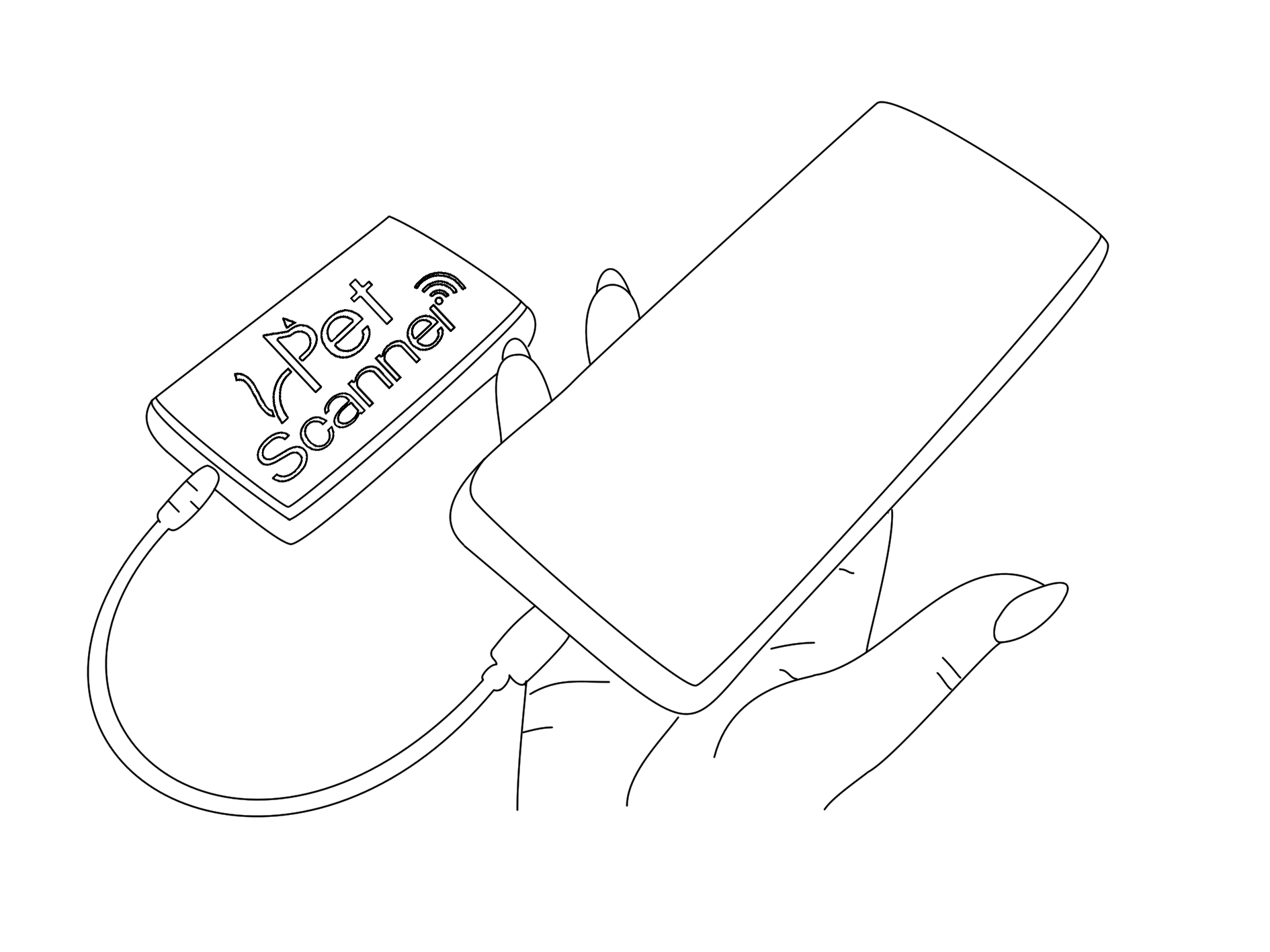 Line drawing of PetScanner reader and app