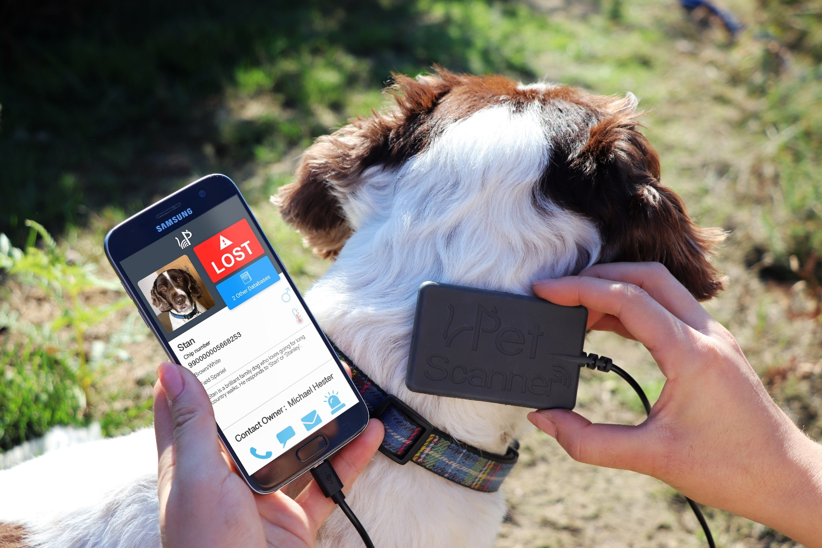 Image of PetScanner reader and app in use on dog