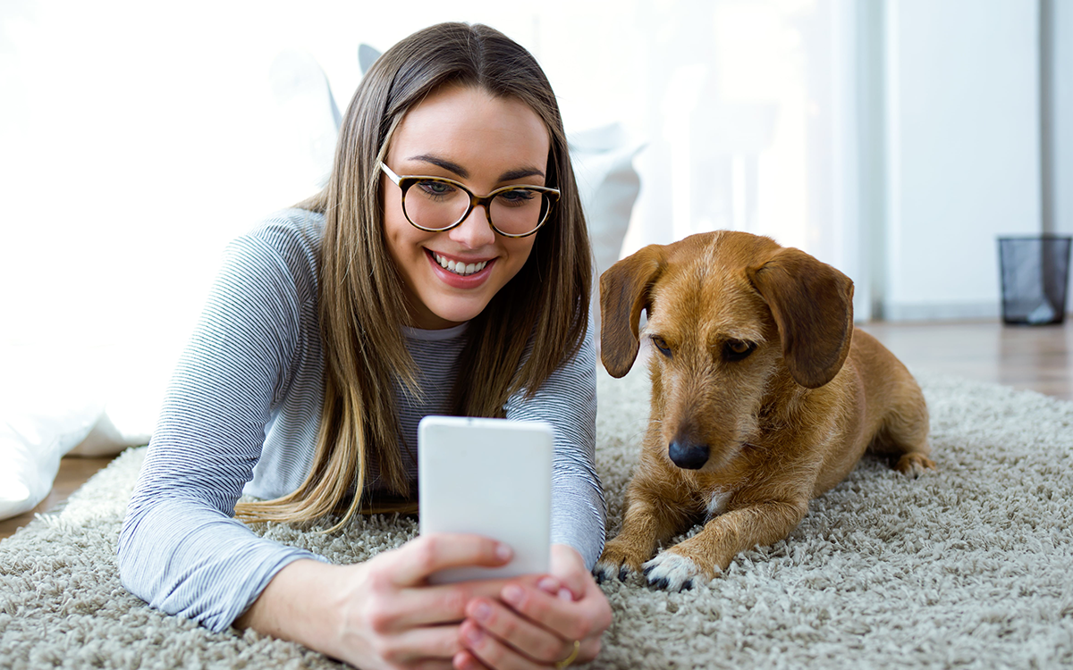 Girl showing smartphone to dog